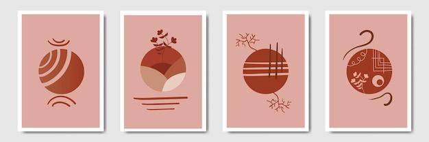 Коллекция настенного декора в богемном стиле, минимальное растительное искусство для печати, обложка для социальных сетей, обои