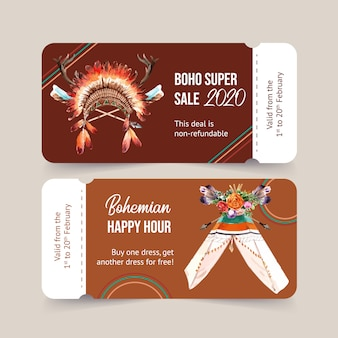 Bohemian voucher design with crystal, feather headdress watercolor illustration.