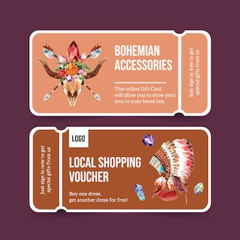Bohemian voucher design with feather headdress, tent watercolor illustration.