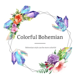 Bohemian wreath design with flower, crystal watercolor illustration,