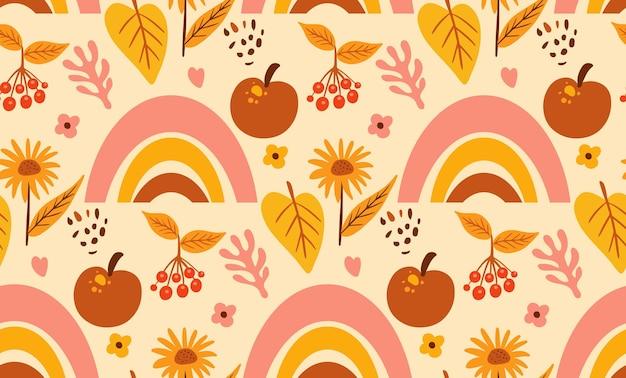 自由奔放に生きる抽象的な秋のシームレスなパターン。ボヘミアンプリントクリエイティブな現代的な美的落書きスタイル、繰り返しのテクスチャ、背景。ベクトルイラスト。