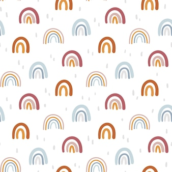 Boho abstract rainbow seamless pattern or digital paper geometric kids background vector