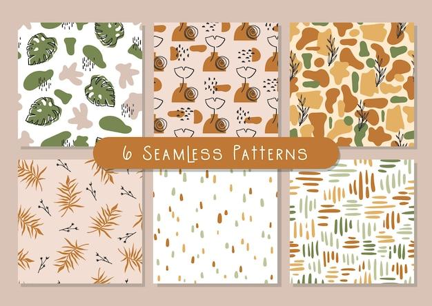 Boho abstract seamless pattern bundle