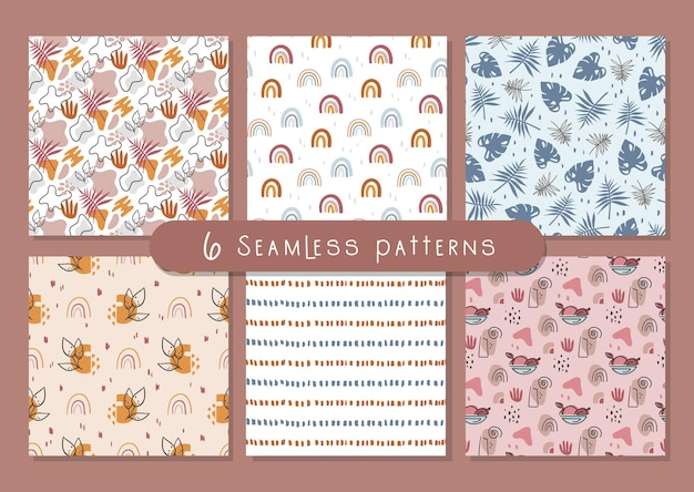 Boho abstract seamless pattern or digital paper bundle simple geometric and floral background