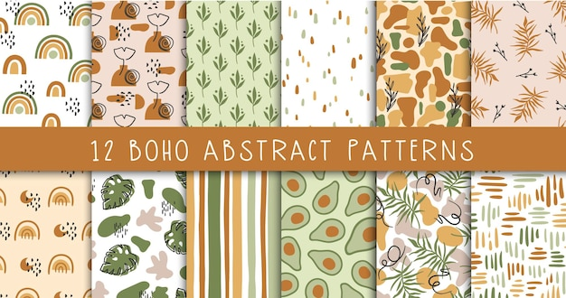 Boho abstract shapes seamless pattern bundle