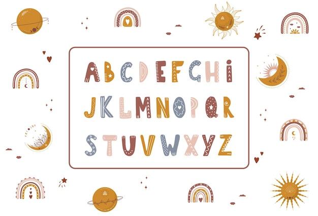 天体の要素を持つ自由奔放に生きるアルファベット。かわいい文字と数字