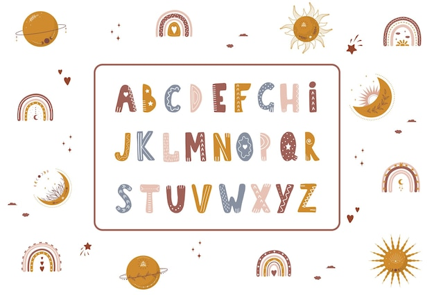 Boho alphabet with celestial elements. cute letters and numbers