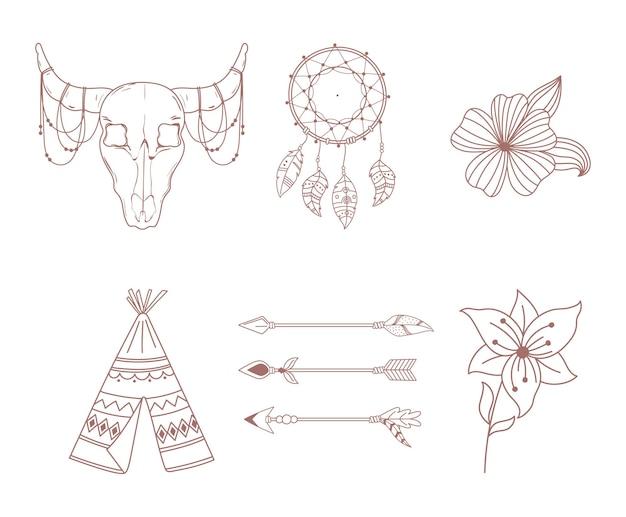 Boho 및 부족 아이콘 설정 화살표 천막 황소 두개골 드림 캐쳐 및 꽃 그림