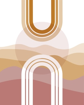 Boho arch shapes with minimalist landscape as a background midcentury modern art print