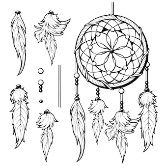 Boho art tribal arrow feather clipart