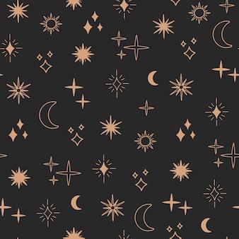 自由奔放に生きる占星術と星のシームレスなパターン、魔法の天体の夜のコンセプト、月と太陽のオブジェクト、自由奔放なシンボル。ゴールドラインアート、落書きフラットスタイル、黒の背景のモダンなトレンディなベクトルイラスト
