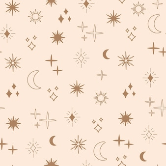 보헤미안 점성술과 별의 매끄러운 패턴, 마법의 천체 달과 태양, 금색 단순한 선, 보헤미안 별자리 기호 및 요소. 낙서 스타일의 현대적인 트렌디한 벡터 일러스트, 세련된 인쇄