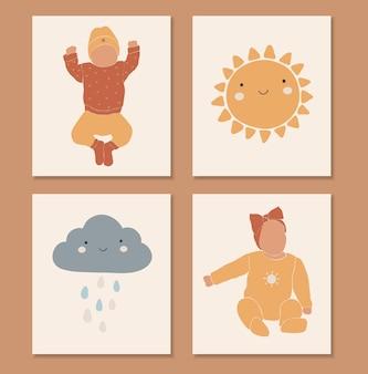 自由奔放に生きる赤ちゃんの要素、抽象的な太陽と雲、かわいい赤ちゃん、自由奔放に生きる子供たちのプリント、孤立した要素、自由奔放に生きるセット、イラスト