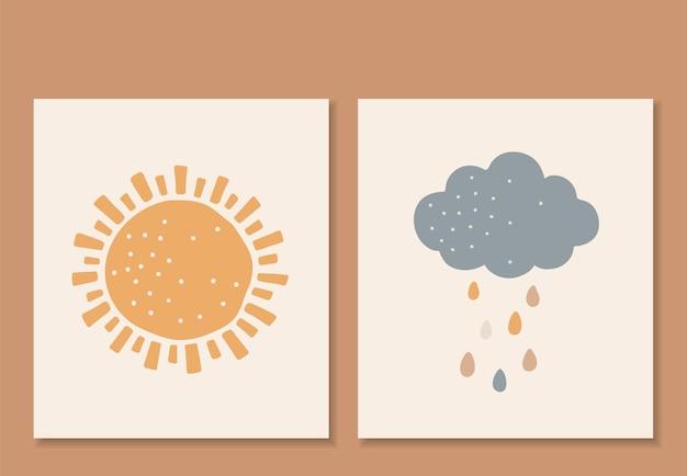 自由奔放に生きる赤ちゃんの要素、抽象的な太陽と雲、かわいい赤ちゃん、自由奔放に生きる子供たちのプリント