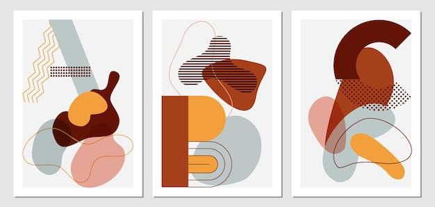 Boho background fashion stylish templates with organic abstract shapes
