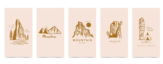 Boho background for social media with mountain,natural