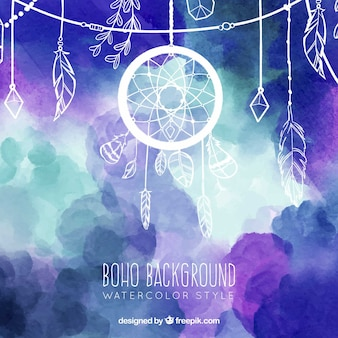 Boho background in watercolor style