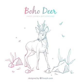 Boho background with deer