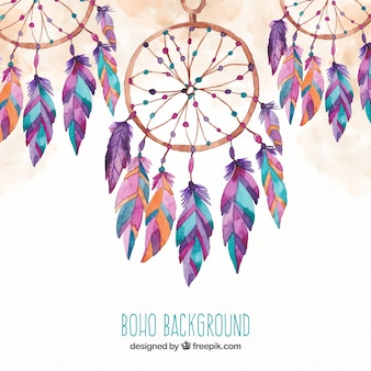 Boho background with dream catchers in watercolor style