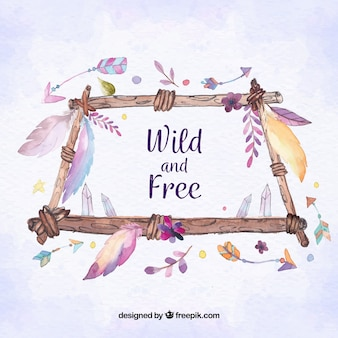 Boho background with feathers in watercolor style