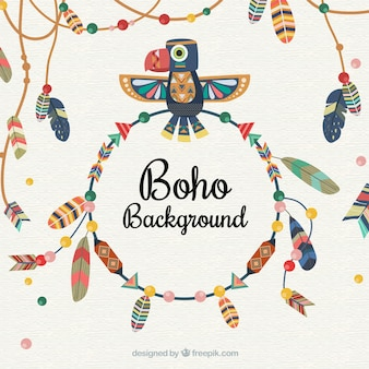 Boho background with feathers