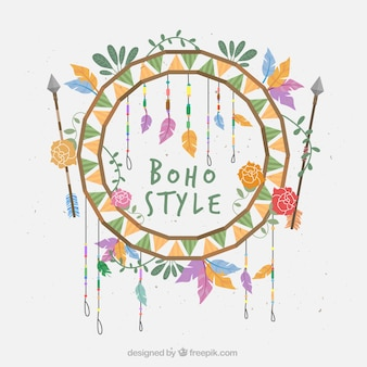 Boho background with floral decoration and arrows
