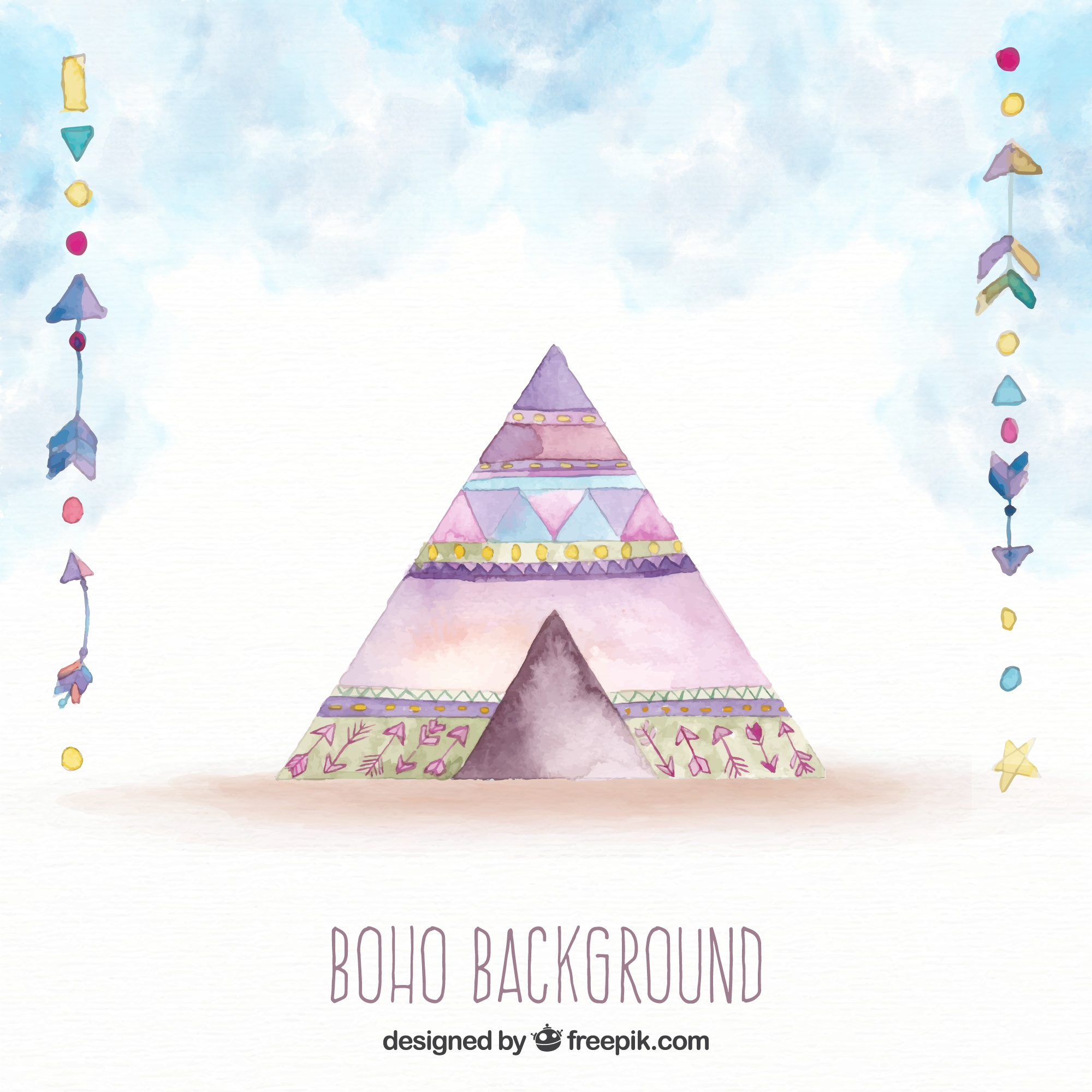Boho background with tent in watercolor style