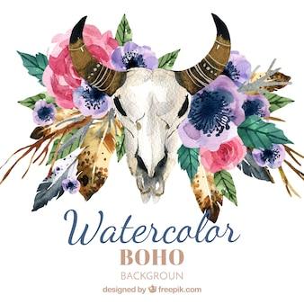 Boho背景に水彩要素