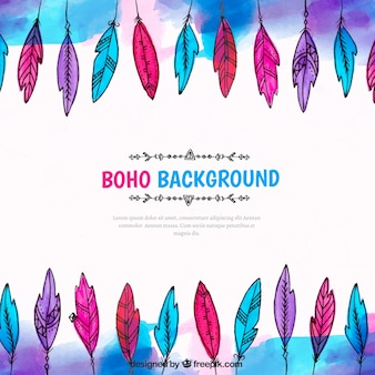 Boho background with watercolor feathers