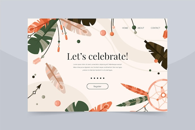 Pagina di destinazione per la celebrazione del compleanno di boho