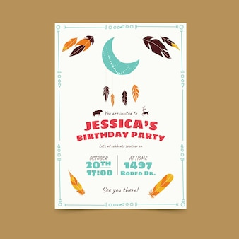 Boho birthday invitation template