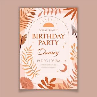Modello di invito di compleanno boho