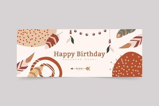 Modello di copertina della festa di compleanno di boho