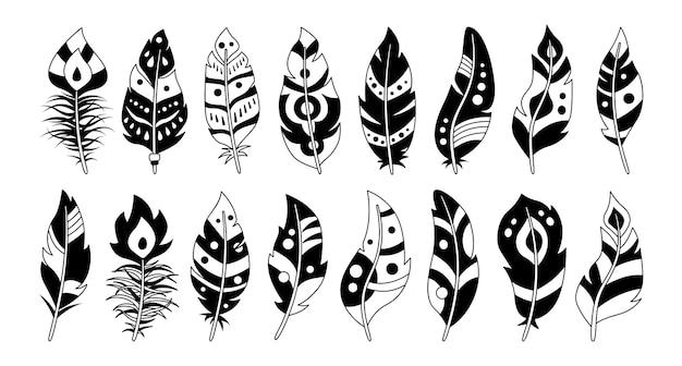 Набор черных перьев в стиле бохо