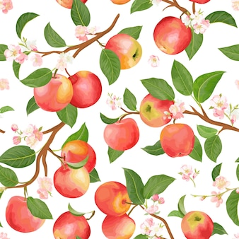 Boho botanical apple seamless pattern. vector autumn fruits, flowers, leaves texture. summer floral background, nature wallpaper, watercolor backdrop fashion textile, fall wrapping paper