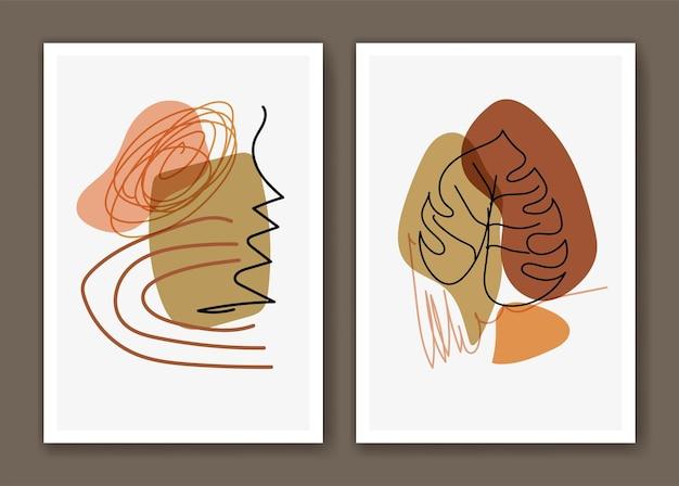 Boho botanical line art with abstract shape decoration