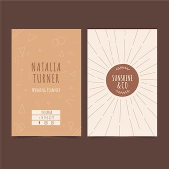 Шаблон визитки в стиле бохо