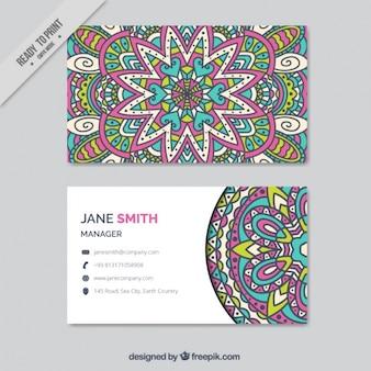 Biglietto da visita boho con un design colorato