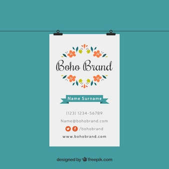 Boho business card with colored flowers