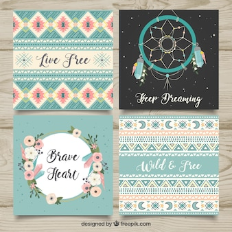 Boho cards collection in hand drawn style