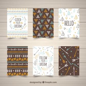 手描きのスタイルのbohoカードコレクション