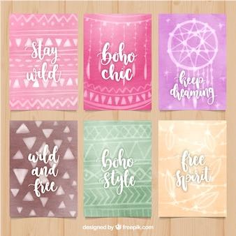 수채화 스타일의 boho 카드 컬렉션