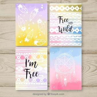 Boho cards collection in watercolor style