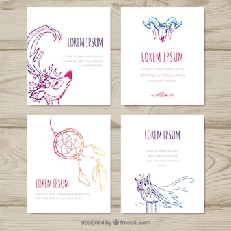 Boho cards collection with different elements