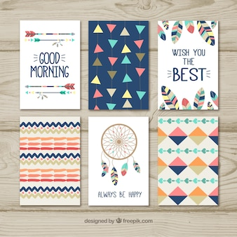 Boho cards collection with elements
