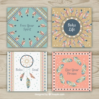 Boho cards collection with feathers