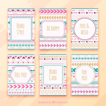 Boho cards collection with hippie elements