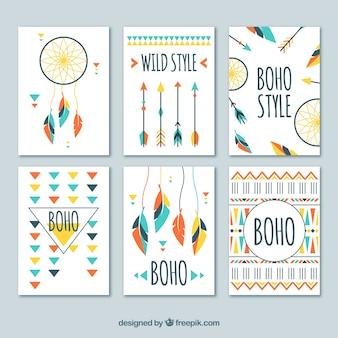히피 요소와 boho 카드 컬렉션