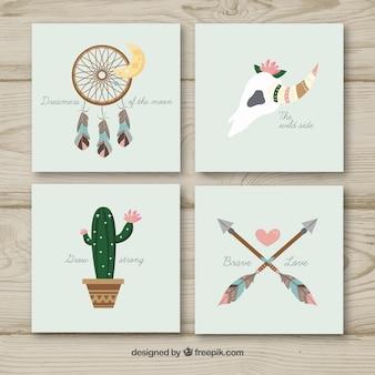 Collezione di carte boho con elementi hippie
