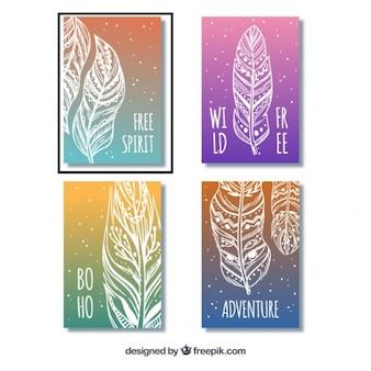 다양한 색상의 boho 카드 컬렉션